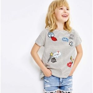 Zara girls striped tee with embroidered patches